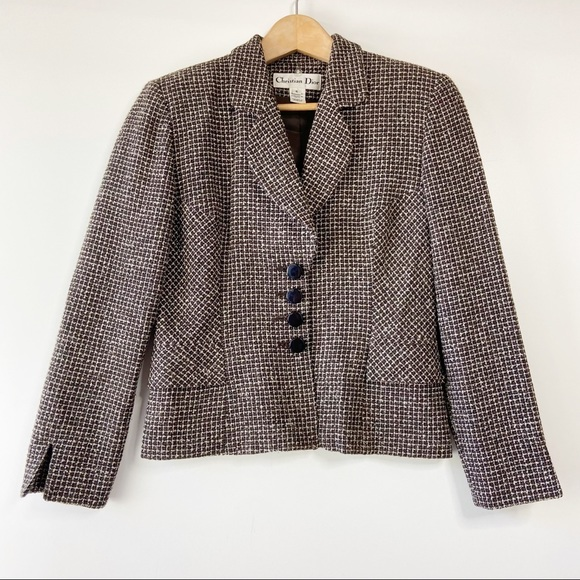 Christian Dior tweed plaid vintage button blazer